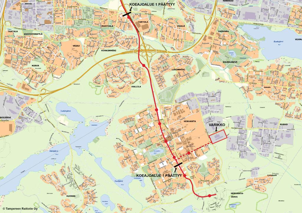 Tampereen Ratikan koeajoalue 1 kartta