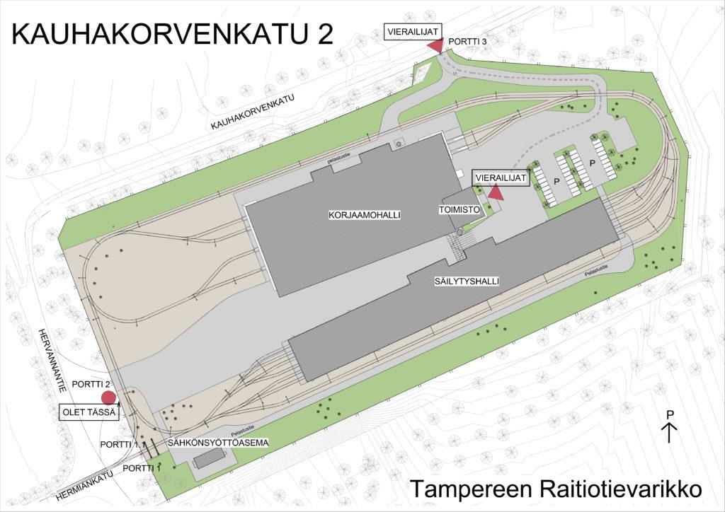 Tampereen raitiotievarikon kartta
