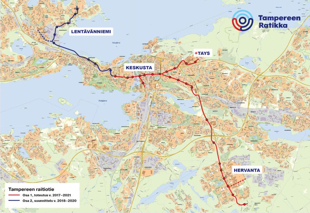 Tampereen Ratikan reitti osilla 1 ja 2