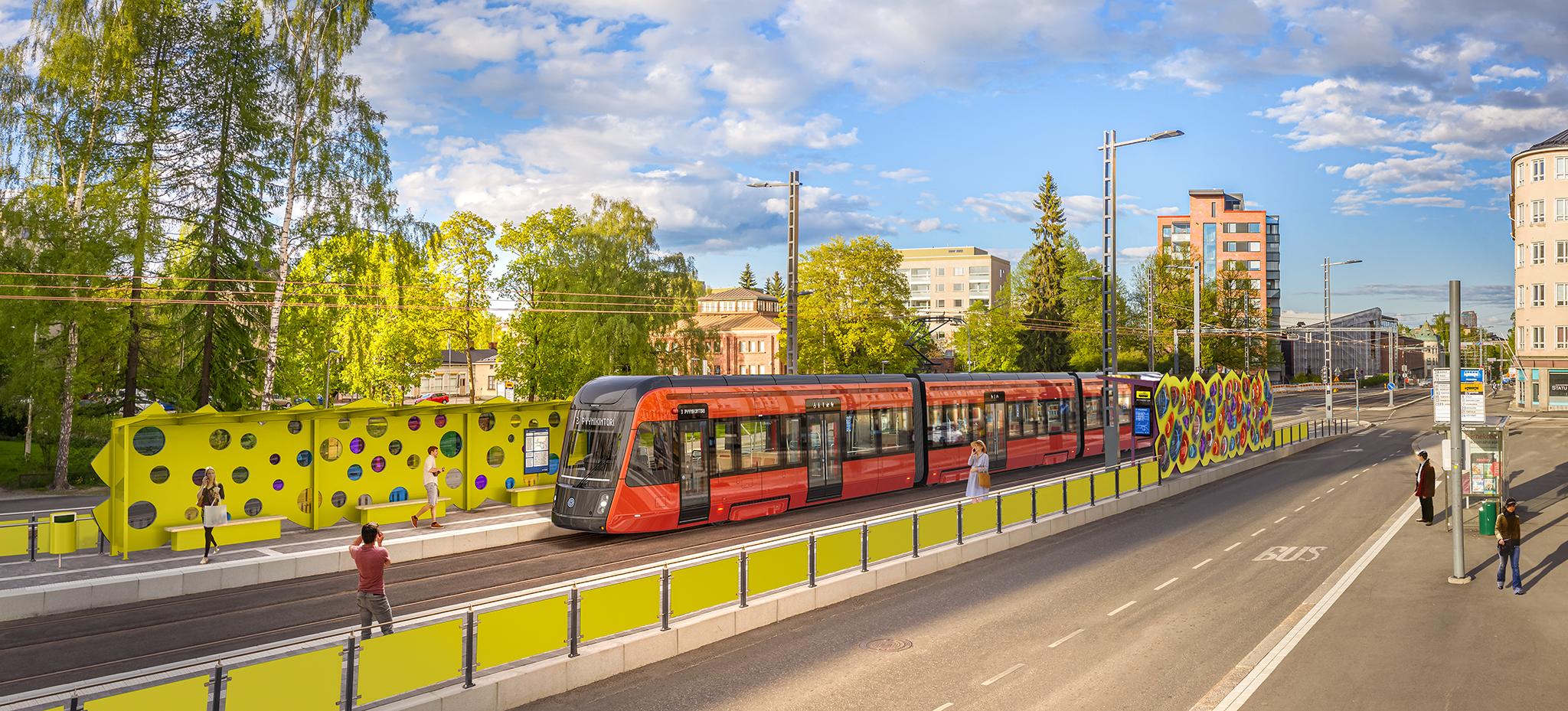 Tampereen Ratikan taidepysäkki Pyynikintorilla