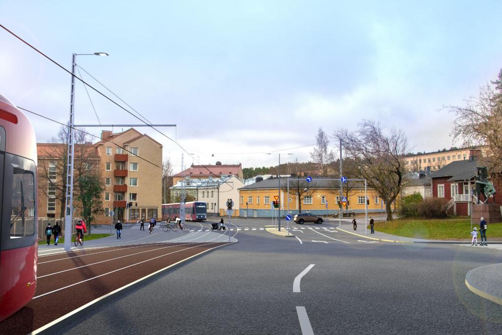 Havainnekuva Ratikasta Sepänkadulla. Kuva: Tampereen kaupunki ja Sitowise Oy