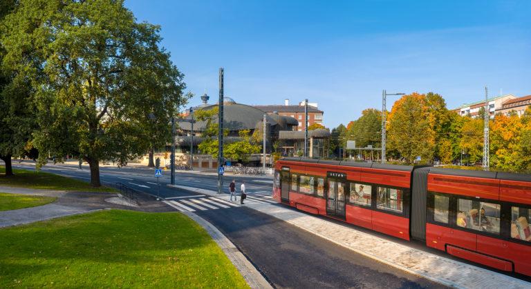 Tampereen Ratikka pääkirjaston Metson edustalla