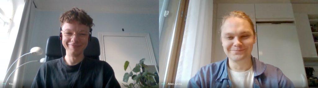 Hervannan kampuksen ratikkapysäkin opiskelijakilpailun voittajakaksikko Olli Laine (vas.) ja Atso Airola. Kuva: Olli Laine